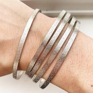 Vintage silver textured shimmer bangle bracelets
